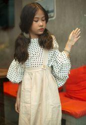 Bộ Váy Yếm Áo Tay Bồng Chấm Bi NX0315