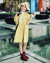 Váy Hoa Vàng Khuy Cúc Gỗ NX0200