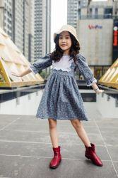 Váy Pha Cổ Vuông Trắng Bèo NX0092