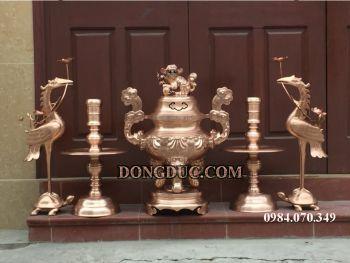 Ý nghĩa của đồ thờ bằng đồng kèm thêm bộ tam sự hay ngũ sự