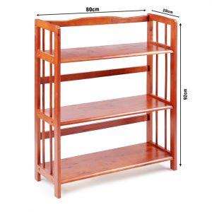 Kệ sách đa năng KS3T80, kệ gỗ cao su tự nhiên 3T rộng 80cm
