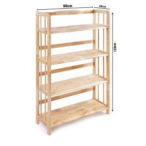 Kệ sách đa năng KS4T80, kệ gỗ cao su tự nhiên 4T rộng 80cm