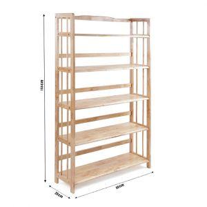 Kệ sách đa năng KS5T90, kệ gỗ cao su tự nhiên 5T rộng 90cm