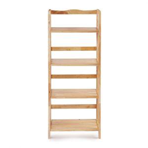 Kệ sách đa năng KS4T50, kệ gỗ cao su tự nhiên 4T rộng 50cm