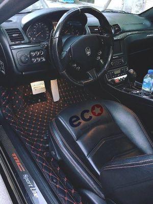 Thảm lót sàn Eco Premium Maserati GranTurismo MC Stradale 2 lớp màu đen chỉ đỏ