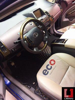 Thảm lót sàn Eco Premium 2 lớp màu đen chỉ vàng TOYOTA PRIUS