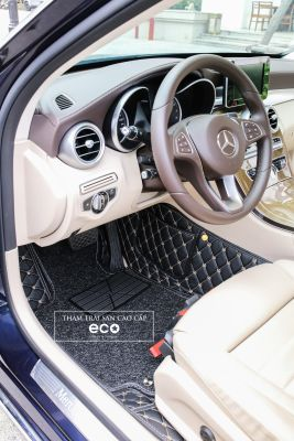 Thảm lót sàn Eco premium 2 lớp màu đen Mercedes C
