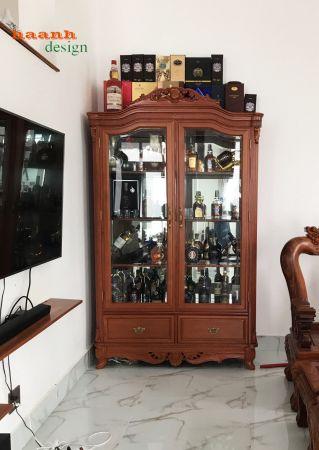 Tủ rượu gỗ gõ đỏ tự nhiên khách hàng chị Thư Hồ Chí Minh