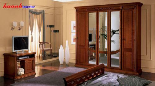 Tủ áo gỗ gụ tân cổ điển TAC003