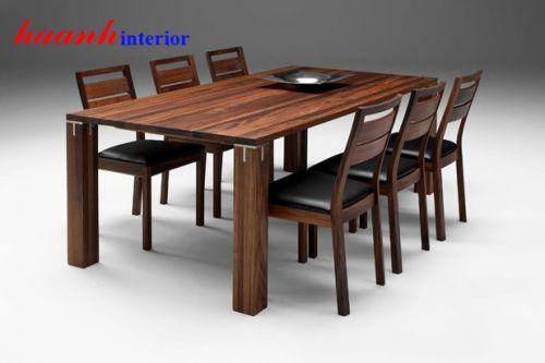 Bàn ghế phòng ăn gỗ óc chó BGA011