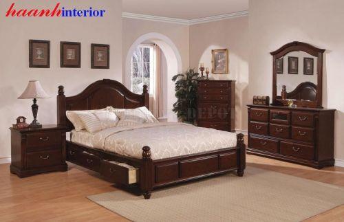 Giường ngủ gỗ xoan đào GNC009