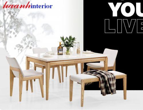 Bàn ghế ăn gỗ sồi BGA030