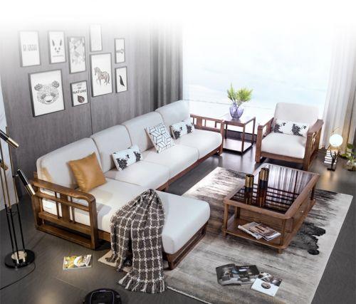 Sofa góc phòng khách gỗ tự nhiên cao cấp. SFG 038