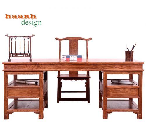 Bàn ghế làm việc gỗ tự nhiên đời minh giả cổ. BLV 016