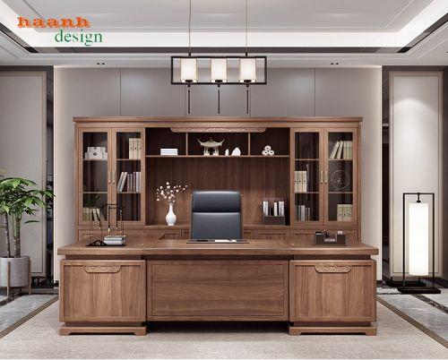 Nội thất phòng làm việc gỗ tự nhiên sang trọng và phong cách BLV 019