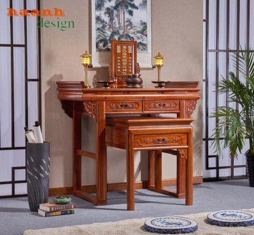 Bàn thờ hai tầng gỗ tự nhiên phong cách á đông chất lượng BTC 039