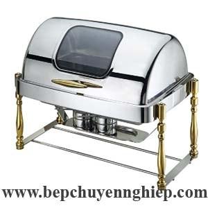 Nồi hâm thức ăn buffet chữ nhật nắp kính 9 lít chân mạ vàng giả gỗ