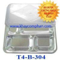 Khay cơm inox 304 4 ngăn có nắp T4-B-304