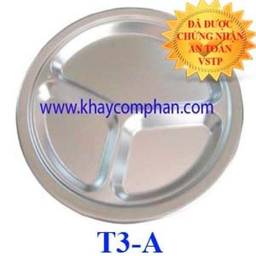 Khay ăn inox an toàn cho em bé trẻ em mầm non tiểu học T3-A