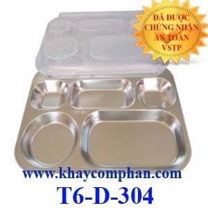 Khay cơm phần 6 ngăn inox 304 T6-D-304
