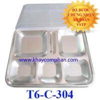 Khay cơm văn phòng 6 ngăn inox 304 T6-C-304