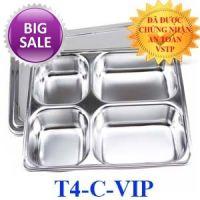 Khay cơm inox 304 4 ngăn cao cấp Hàn Quốc T4-C-VIP