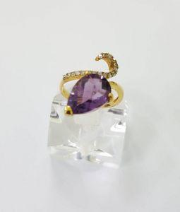 Nhẫn Amethyst(T.Anh Tím) vàng 14k