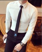 Áo somi trắng ngà dài tay