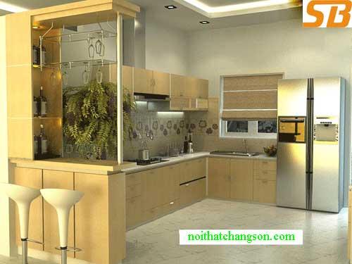 Tủ bếp gỗ tự nhiên sồi mỹ 5