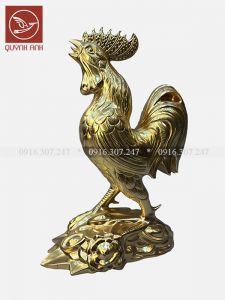 Tượng Gà Đồng Dát Vàng 24k - Mẫu 1