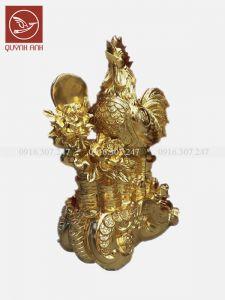 Tượng Gà Đồng Dát Vàng 24k - Mẫu 2