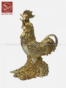Tượng  Gà Đồng Dát Vàng 24k - Mẫu 4