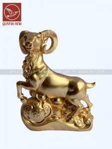 Tượng Dê Đồng Dát Vàng 24k - Mẫu 1