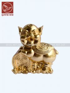 Tượng Lợn Đồng Dát Vàng 24k - Mẫu 5