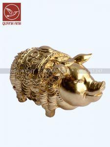 Tượng  Lợn Đồng Dát Vàng 24k - Mẫu 4