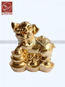 Tượng Lợn Đồng Dát Vàng 24k - Mẫu 7
