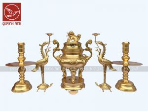 Bộ Đỉnh Đồng - Dát Vàng 24k