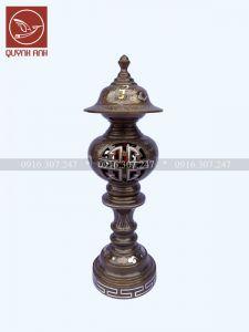 Đèn Đồng Khảm Ngũ Sắc - Mẫu 1