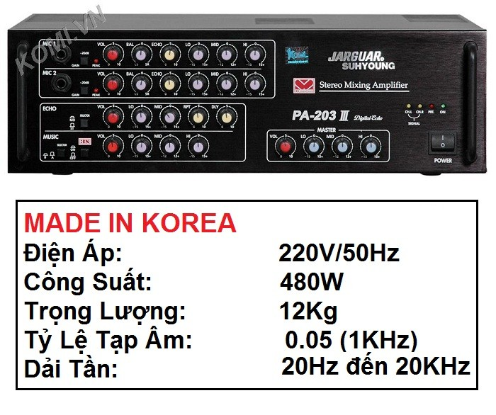 AMPLIFIER JARGUAR SUHYOUNG PA-203III