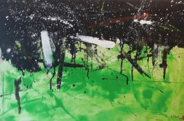 Shades Of Black And Green Abstract