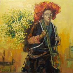 Red Dao Woman With Her Flower Basket