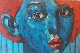 Blue Face Woman