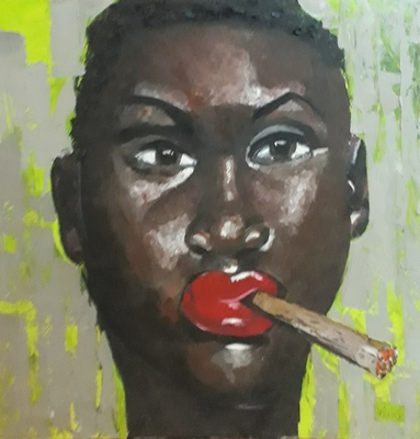 African Lady Smoking Cigarette