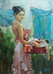 Vietnamese Lady Doing Laundry
