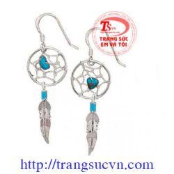 Bông tai bạc đá quý