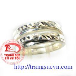 Nhẫn đôi bạc đá  TY-TSVN
