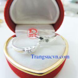 Nhẫn đôi bạc gắn đá trắng  cho tình yêu-TSVN