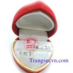 Nhẫn đôi bạc tình yêu gắn đá trắng-TSVN