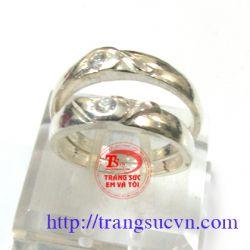 Nhẫn đôi trái tim  bạc đẹp-TSVN