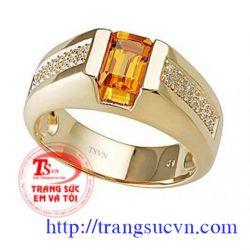 Nhẫn nam sapphire vàng  đá quý